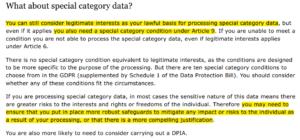 datos categoría especial interes legítimo